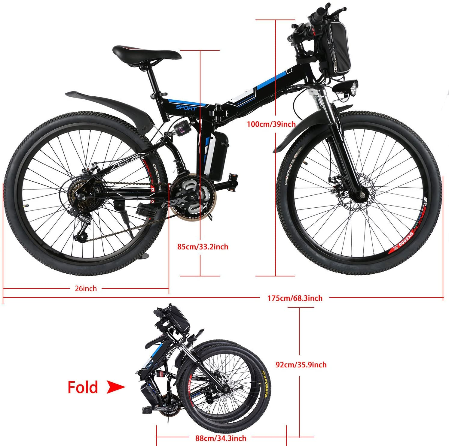 Bunao Bicicleta el/éctrica de monta/ña Bater/ía 36V E-Bike Sistema de Transmisi/ón de 21 Velocidades con Linterna con Bater/ía de Litio Desmontable 250W