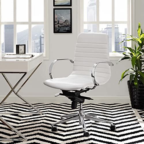 Modway Groove Ribbed Back Faux Leather Office Chair in White