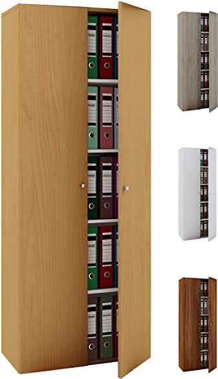 VCM Büroschrank Aktenschrank Bücherregal Standregal Aktenregal Schrank  Regal Vandol Mit Türen: Buche