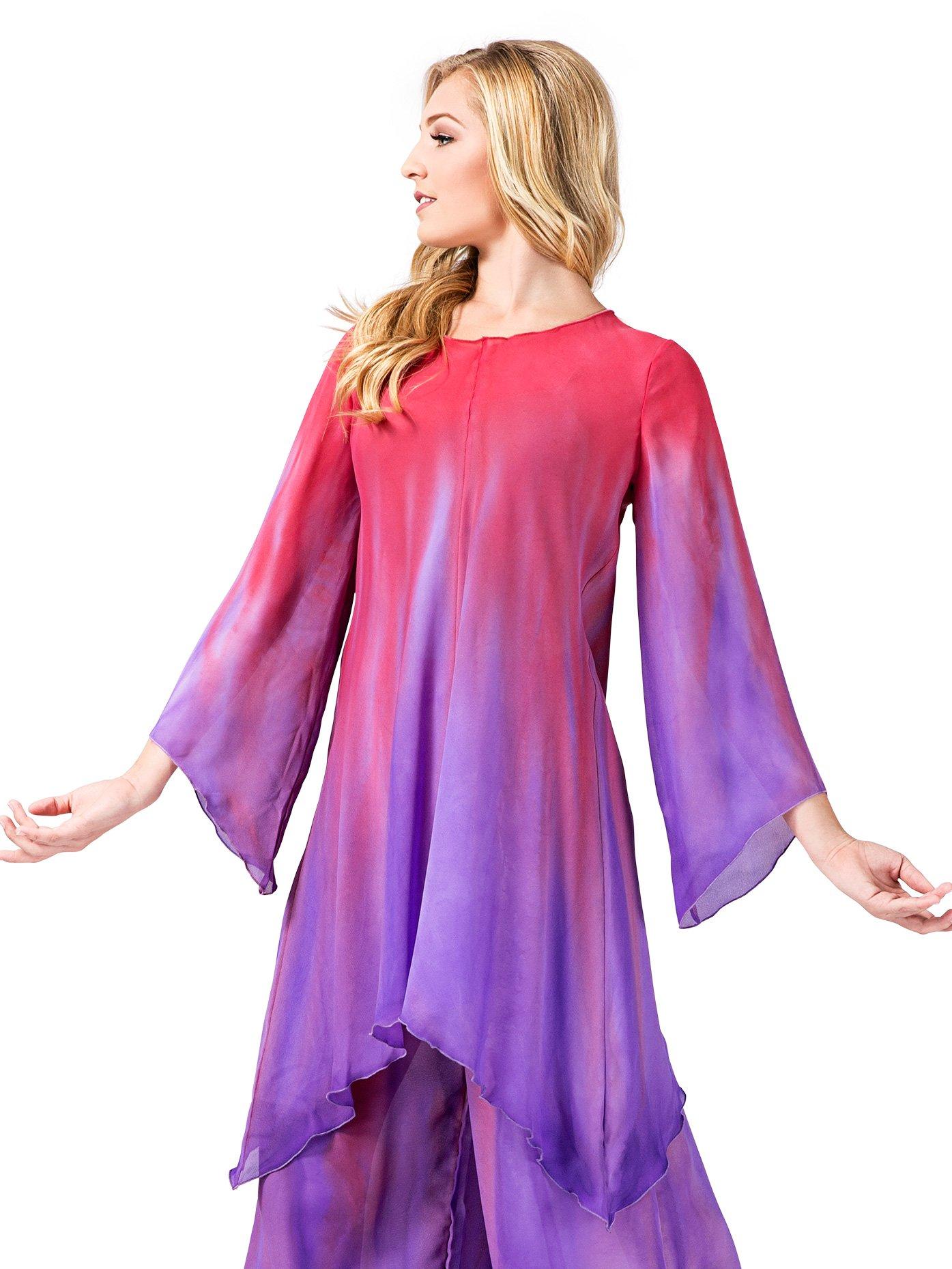 Watercolour Women's Worship Long Sleeve Tunic,WC101GOBLPS,Gold/Blue,PS