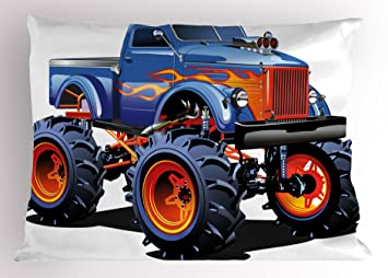 Lunarable Man Cave Pillow Sham, Cartoon Monster Truck with Huge Tyres Off-Road Heavy