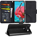 Arae Case for LG K51 PU Leather Wallet Case Cover [Stand Feature] with Wrist Strap and [4-Slots] ID&Credit Cards Pocket for L