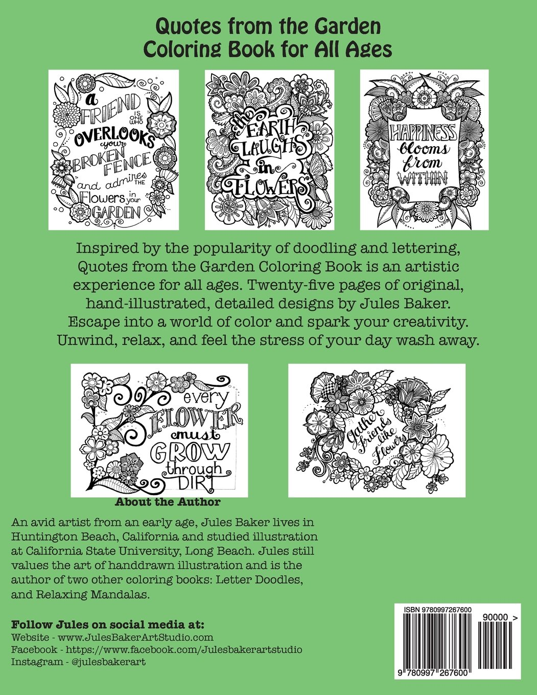 Amazon Quotes From The Garden Coloring Book For Adults And All Ages Creative Spark Adult Books Volume 3 9780997267600
