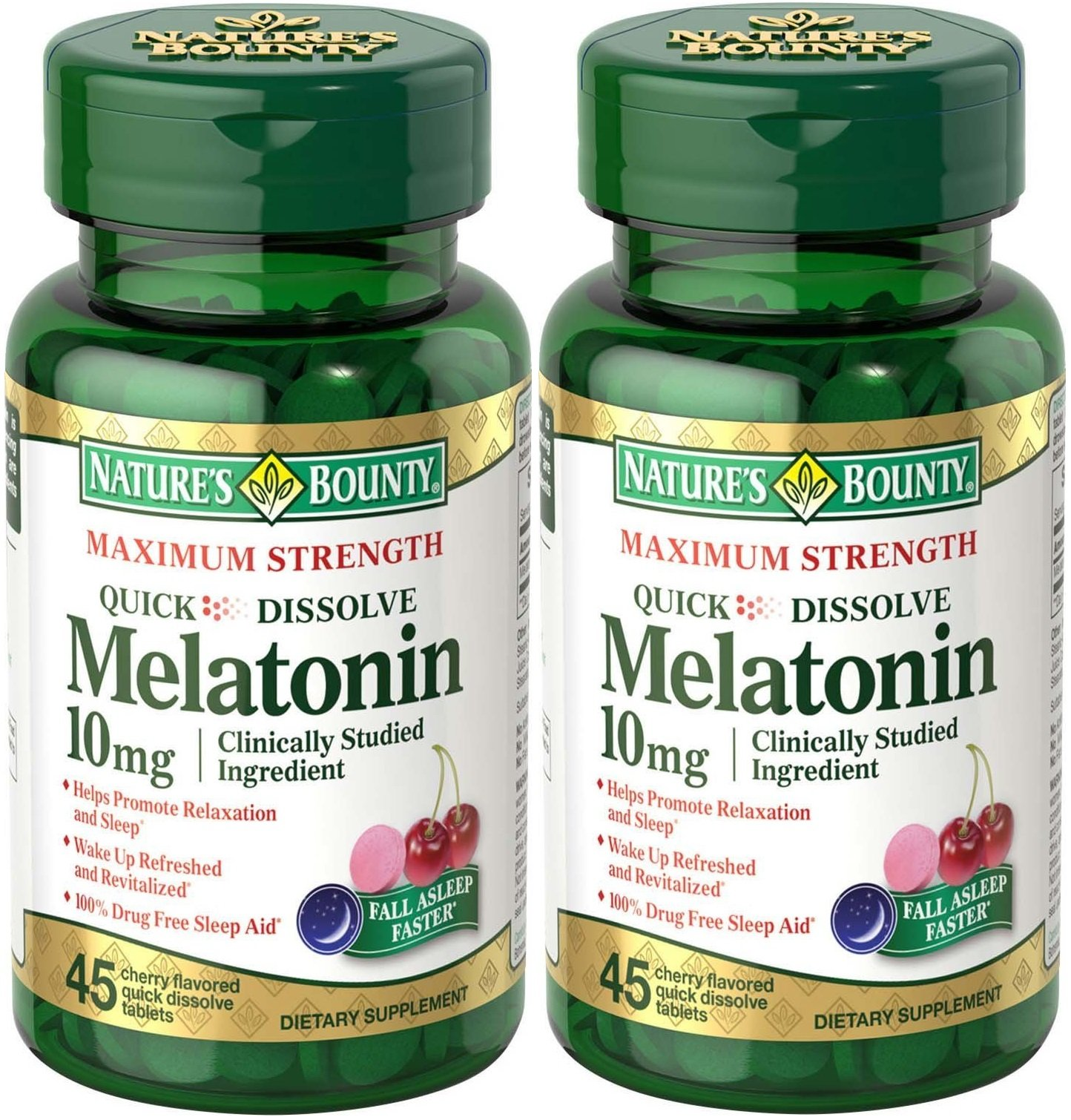 Natures Bounty Melatonin Quick Dissolve Tablet, 10 mg, 90 Tablets (2 X 45