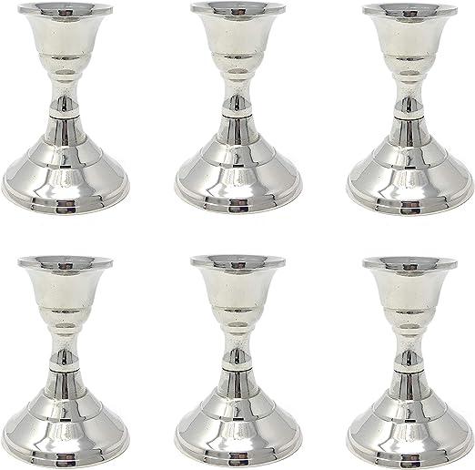 Marzoon 4 Metall Kerzenleuchter//Kerzenst/änder//Stabkerzenhalter im Set Silber H/öhe 8,2cm mit rundem Fu/ß