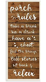 996019faa7e4 Stupell Home Décor Porch Rules Rustic Neutrals Sit Back and Relax Wall  Plaque Art