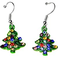 Crystal Rhinestone Christmas Tree Stud Dangle Earrings in Gift Bag Womens Girls Jewellery