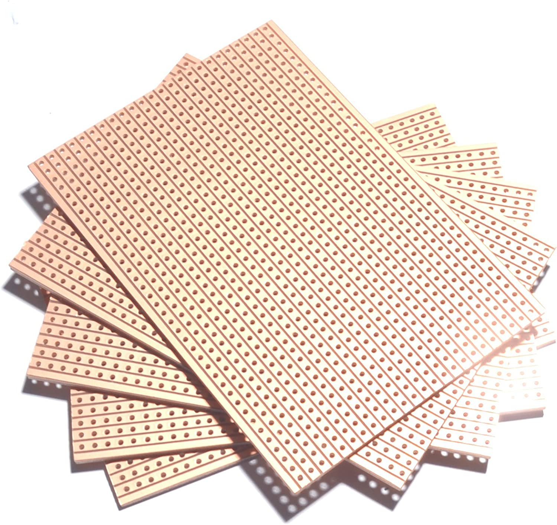 2 X crear prototipos de electrónica stripboard 64x95mm 24 Pistas X 37 agujeros veroboard