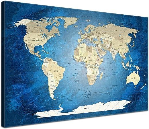 worldmap-blackandw-es-l_parent LanaKK - Mapamundi OCÉANO Azul - ESPAÑOL - Imagen Mapa del Mundo de la Lona XXL Tierra continentes Azul de África Nueva York (60 x 40 cm, una Pieza, océano Azul):