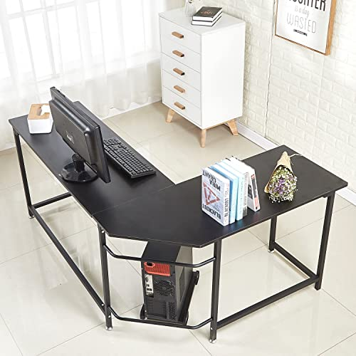 SoSo-BanTian1989 66inch Modern L Shaped Home Office Corner Computer Desk with CPU Stand PC Table Workstation Wood Metal Black