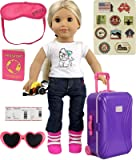 "Click N' Play 18"" Doll Travel Carry on Suitcase Luggage 7 Piece Set with Travel Gear Accessories, Perfect For 18 inch American Girl Dolls"