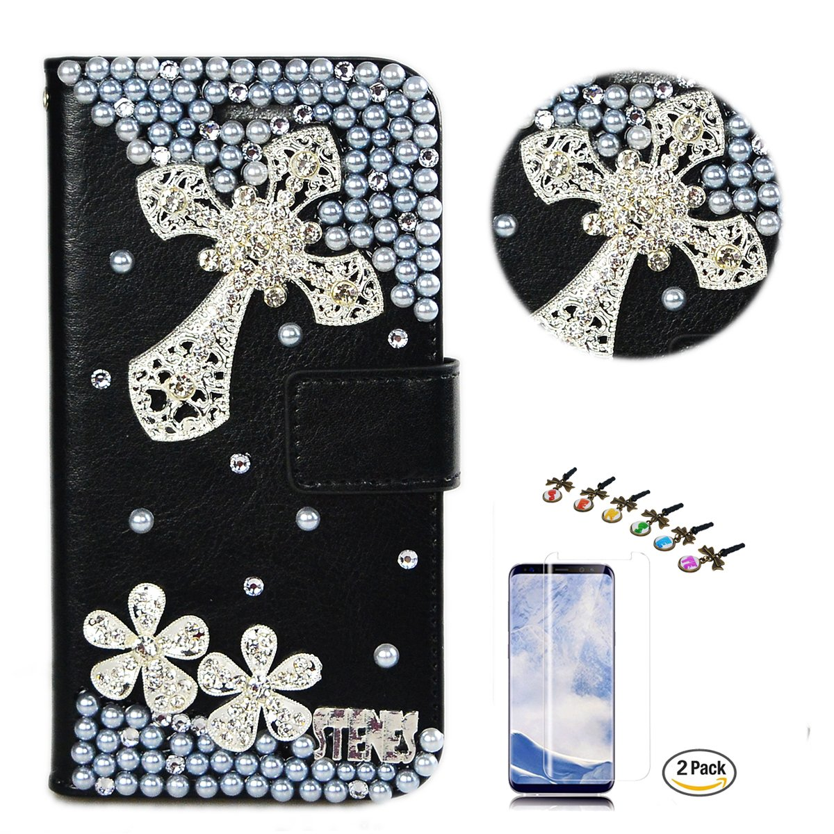STENES LG K30 Case - Stylish - 3D Handmade Crystal Cross Flowers Design Wallet Credit Card Slots Fold Media Stand Leather Cover with Screen Protector for LG K30/LG Premier Pro 4G LTE - Silver