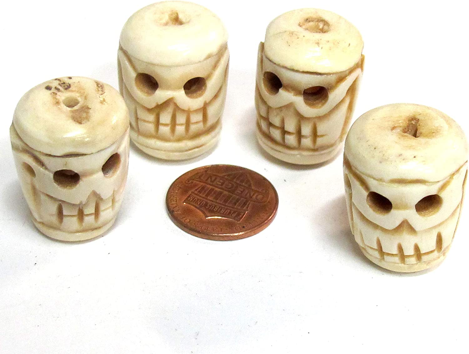 Amazon Com 4 Beads Large Thick Handmade Skull Carved Handmade Old Bone Beads Cream Color Hb014ks Arts Crafts Sewing