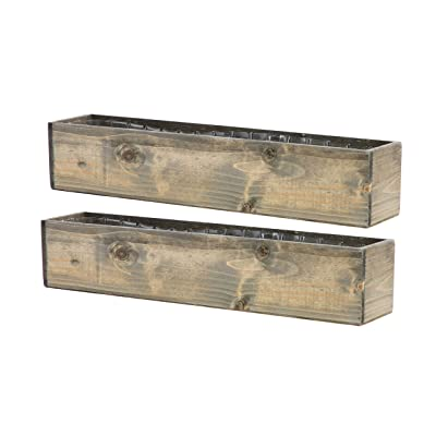 Wooden Planter Box, Rustic Barn Wood with Plastic Liner l Garden Decor l Restaurant and Wedding Decorations l Wedding Bouquets, Table Centerpiece (20x4 Set of 2, Natural) : Garden & Outdoor