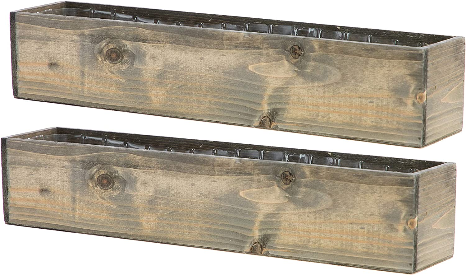 Wooden Planter Box, Rustic Barn Wood with Plastic Liner l Garden Decor l Restaurant and Wedding Decorations l Wedding Bouquets, Table Centerpiece (20x4 Set of 2, Natural)