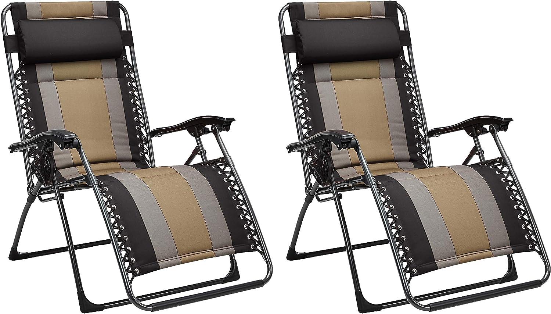 AmazonBasics - Set de 2 sillas acolchadas con gravedad cero - de color negro