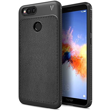 newest 4c8e6 94af0 AEETZ® Honor 7X Case, Honor 7X Back Case Luxury TPU Leather grain with Full  Body Protective and Anti-Scratch and Non-Slip Design Back Case For Huawei  ...