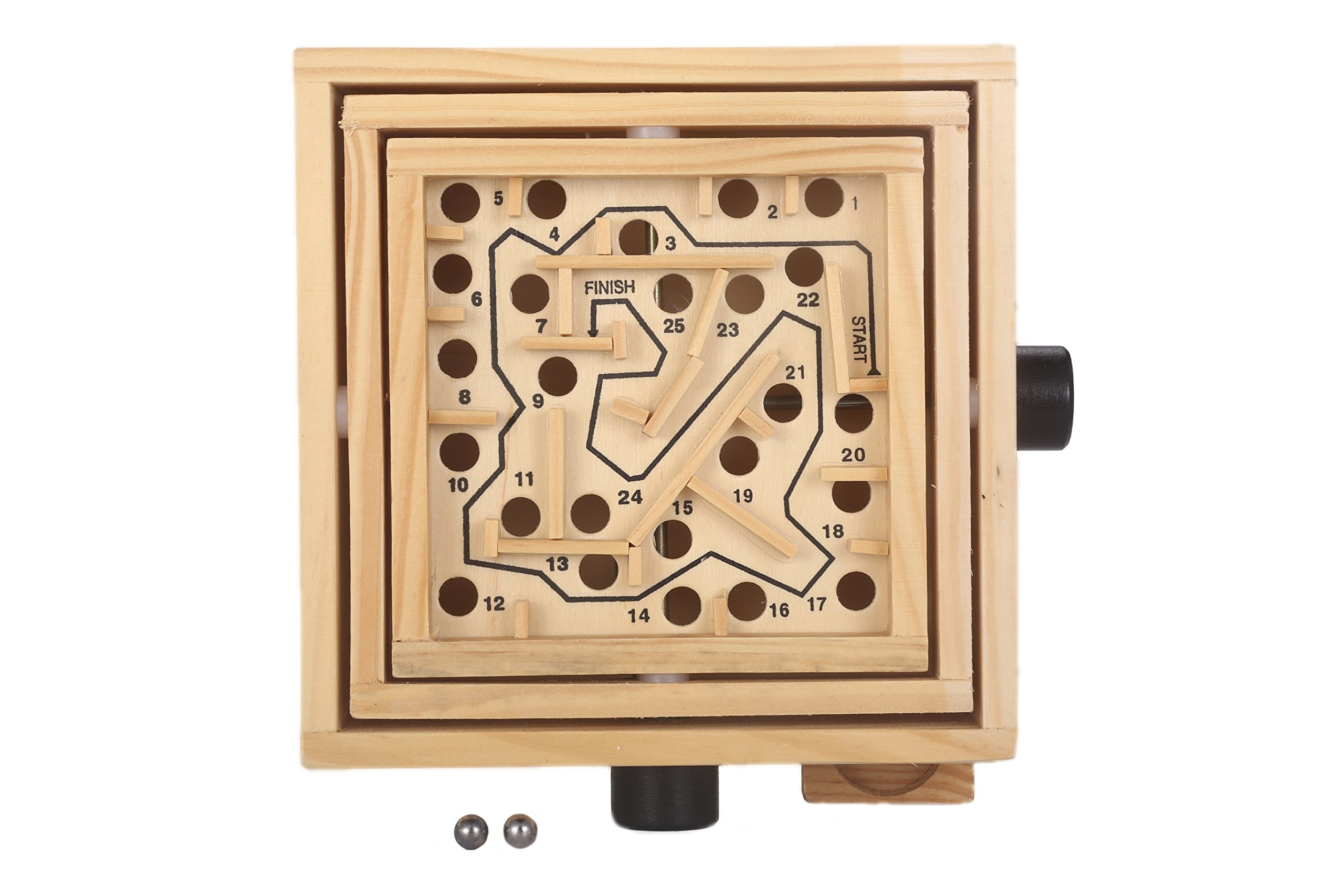 MAGIKON Labyrinth Wooden Maze Game Intellect Puzzle Game with Two Steel Marbles for Adults, Boys and Girls (Normal, Wood)