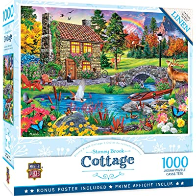 MasterPieces Cottage Linen Jigsaw Puzzle, Stoney Brook, Featuring Art by P.D & Moreno, 1000Piece: Toys & Games