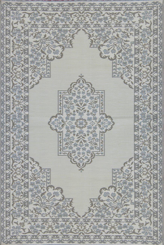 Mad Mats Bouquet Indoor/Outdoor Floor Mat, 6 by 9 Feet, Cool Silver