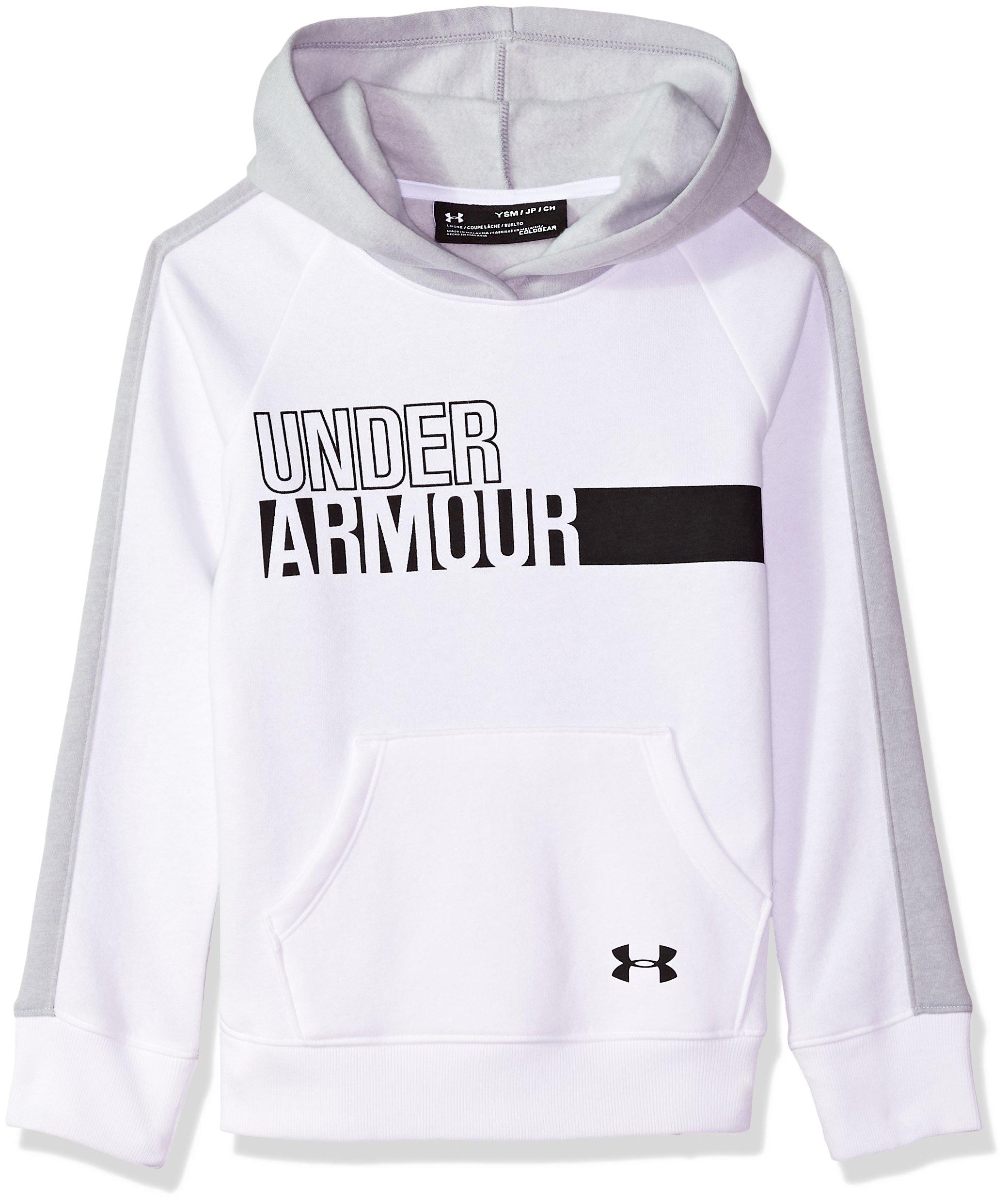 Under Armour Girls' Favorite Fleece Hoodie,White (100)/Black, Youth X-Large