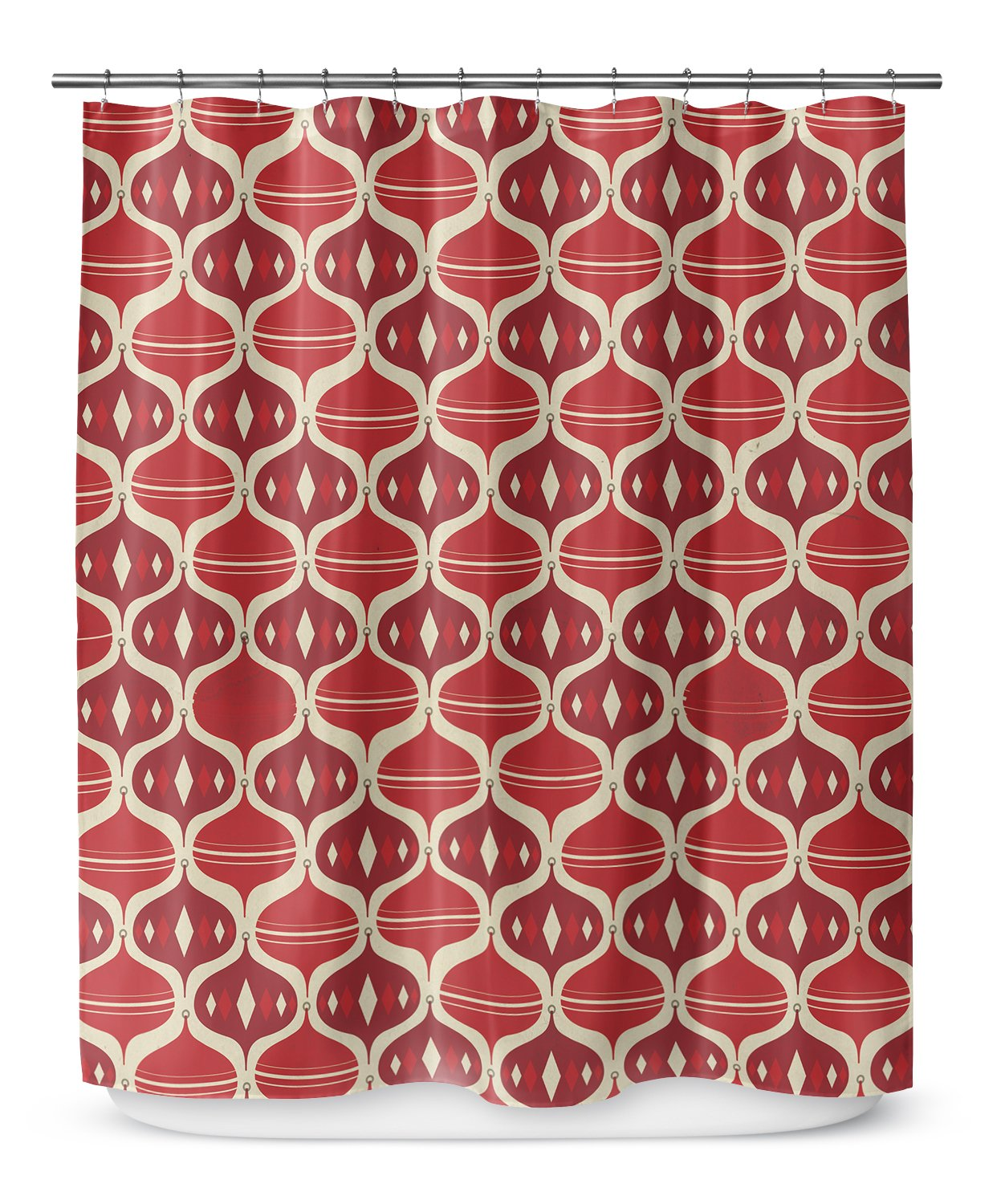 - TRADITIONS Collection KAVKA Designs Shower Curtain Shower Curtain, TELAVC1372SPLSC Size: 70x72 - Red//Ivory