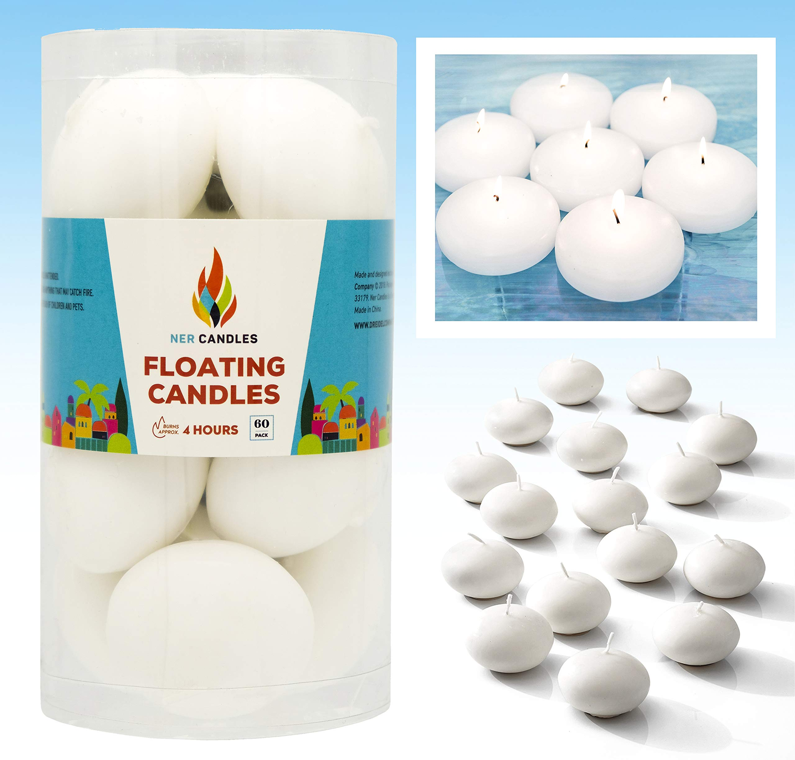 The Dreidel Company Unscented Floating Candles, Set of 60 White Floating Tea Lights Candles with Nice and Smooth Flame, Party Accessories