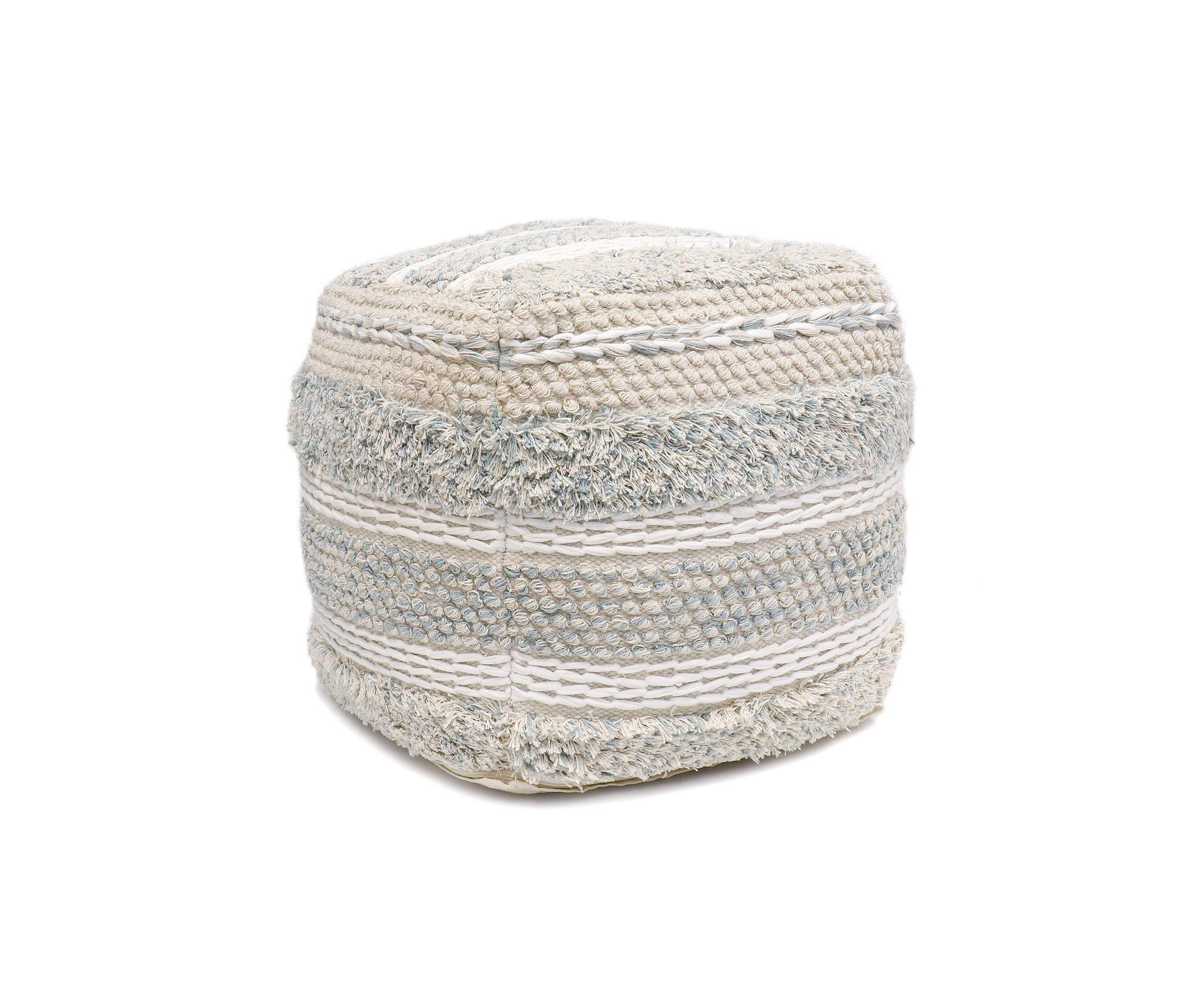 Pasargad Home Grandcanyon Collection Cotton Pouf, 17'' x 17'' x 17'', Beige by Pasargad Home