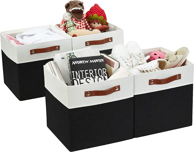 DECOMOMO Foldable Storage Bin [4-Pack] Collapsible Sturdy Cationic Fabric Storage Basket Cube W/Handles for Organizing Shelf Nursery (Black & White, 13 x 13 x 13)