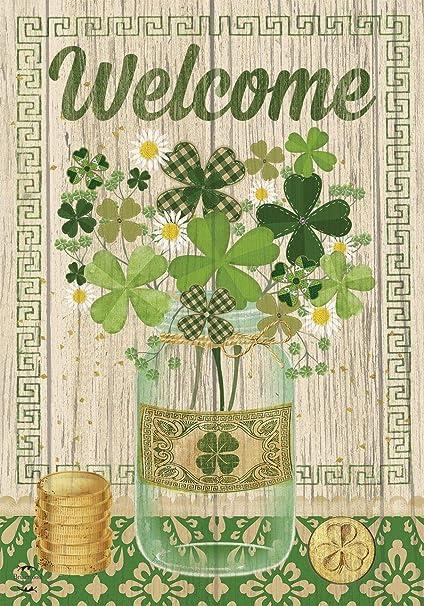 "Shamrocks St Patrick/'s Day Burlap Garden Flag Welcome 12.5/""x18/"" Briarwood Lane"