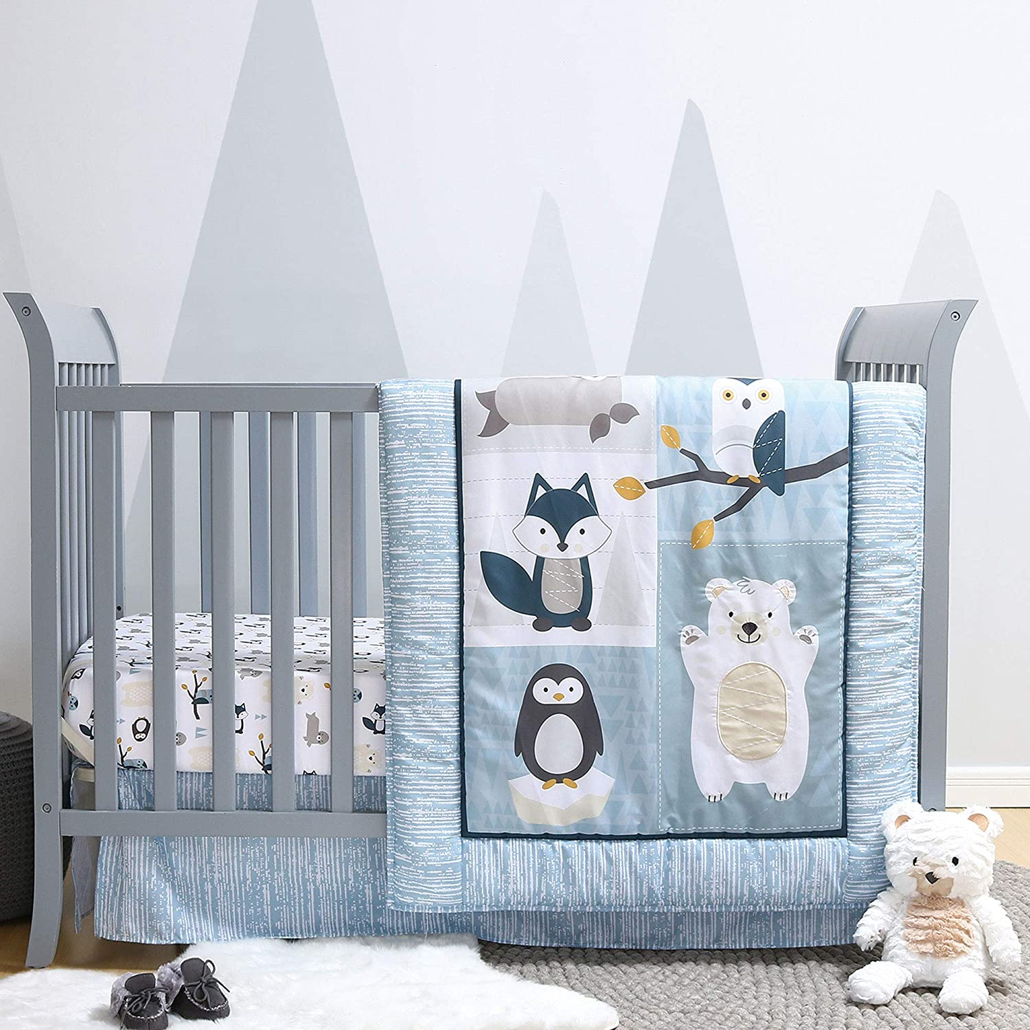 Nordic Wonder 4 Piece Arctic Baby Crib Bedding Set