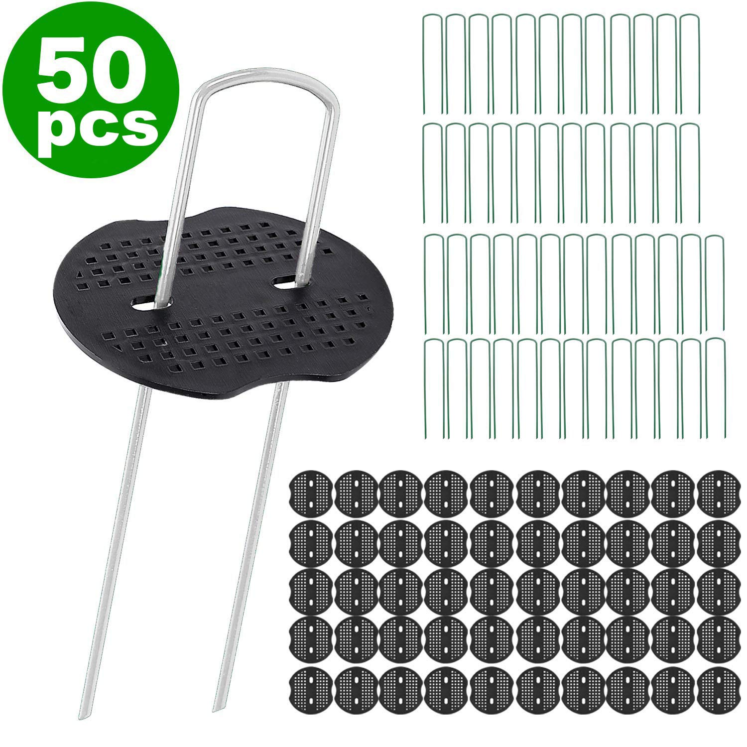 IETFULL Landscape Staples, 6 Inch Galvanized Steel Garden Staples with Black Pad for Landscape Fabric Supplies for Weed Barrier,Plant Stakes,Ground Cover