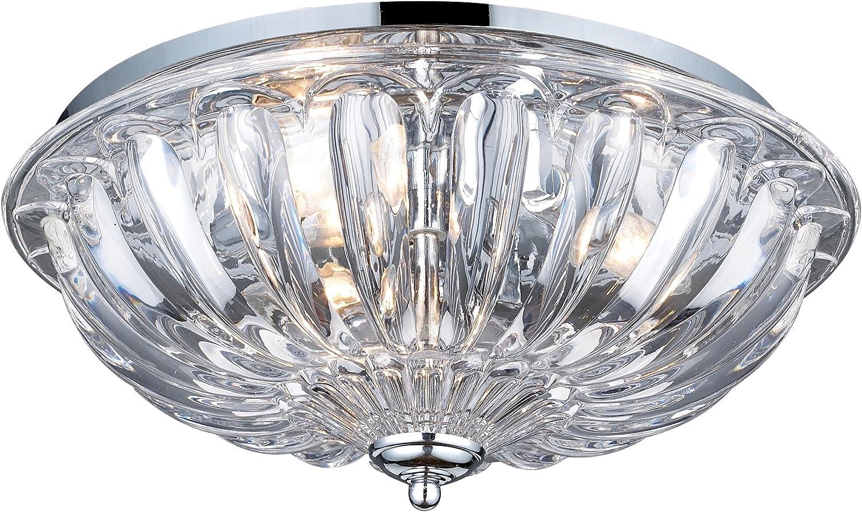 Elk Lighting 31242//3 Crystal Three Light Flushmount Polished Chrome