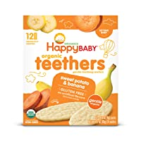 Happy Baby Gentle Teethers Organic Teething Wafers Banana Sweet Potato, 12 Count...