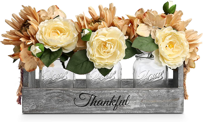 HOMKO Mason Jar Centerpiece Set with Artificial Flower, Kitchen Table Decor Centerpiece in Farmhouse Rustic Style for Flatware Organizer, Flower Arrangement, Garden Wedding (Clear, Large)