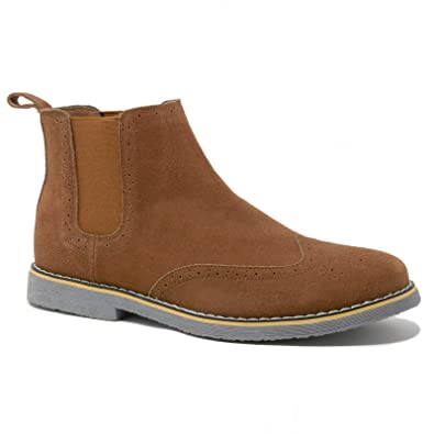alpine swiss Men's Chelsea Boots Genuine Suede Dress Ankle Boots Wingtip  Shoes Chestnut 7 M US