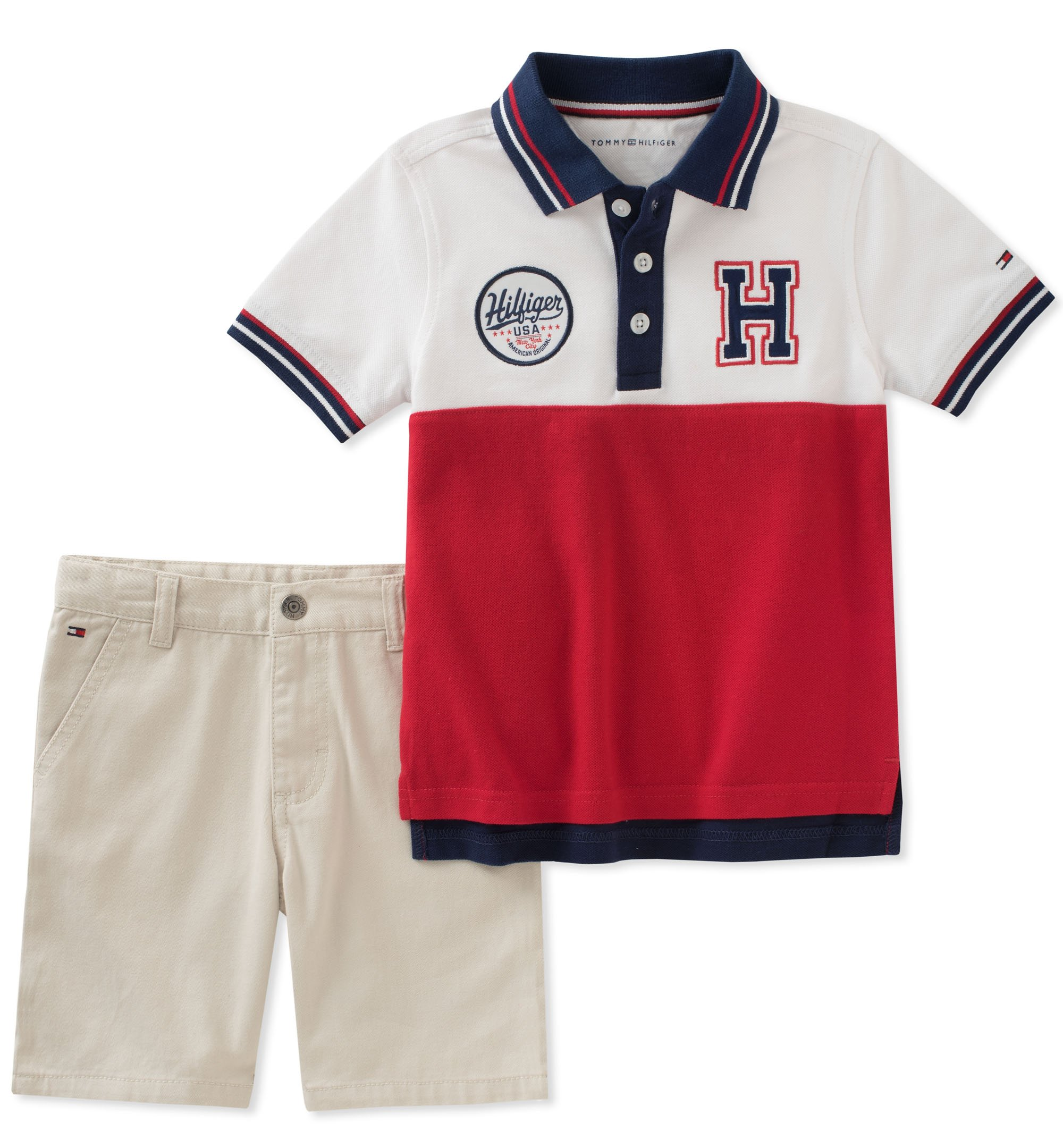 Tommy Hilfiger Boys' Toddler 2 Pieces Polo Shorts Set, red/White, 2T
