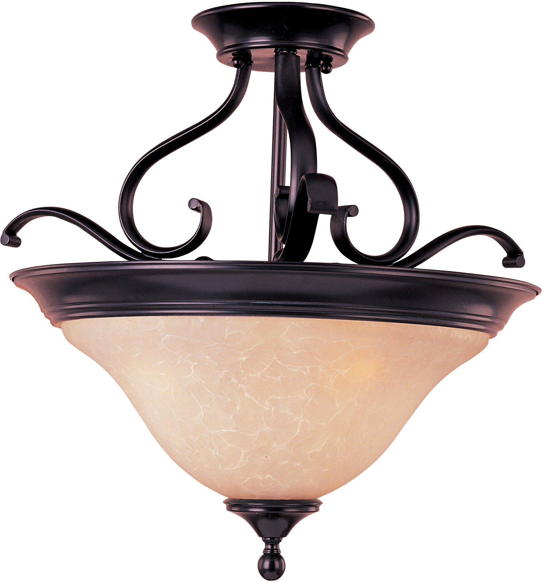 Maxim 85802WSOI Linda EE 3-Light Semi-Flush Mount, Oil Rubbed Bronze Finish, Wilshire Glass, GU24 Fluorescent Bulb , 100W Max., Dry Safety Rating, Standard Dimmable, Glass Shade Material, 1150 Rated Lumens