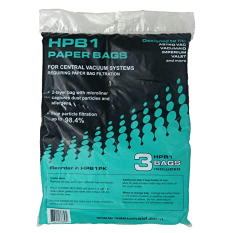 HPB1 Sealed Paper Bag (Qty. 3 bags) for AstroVac & Valet Central Vacuums