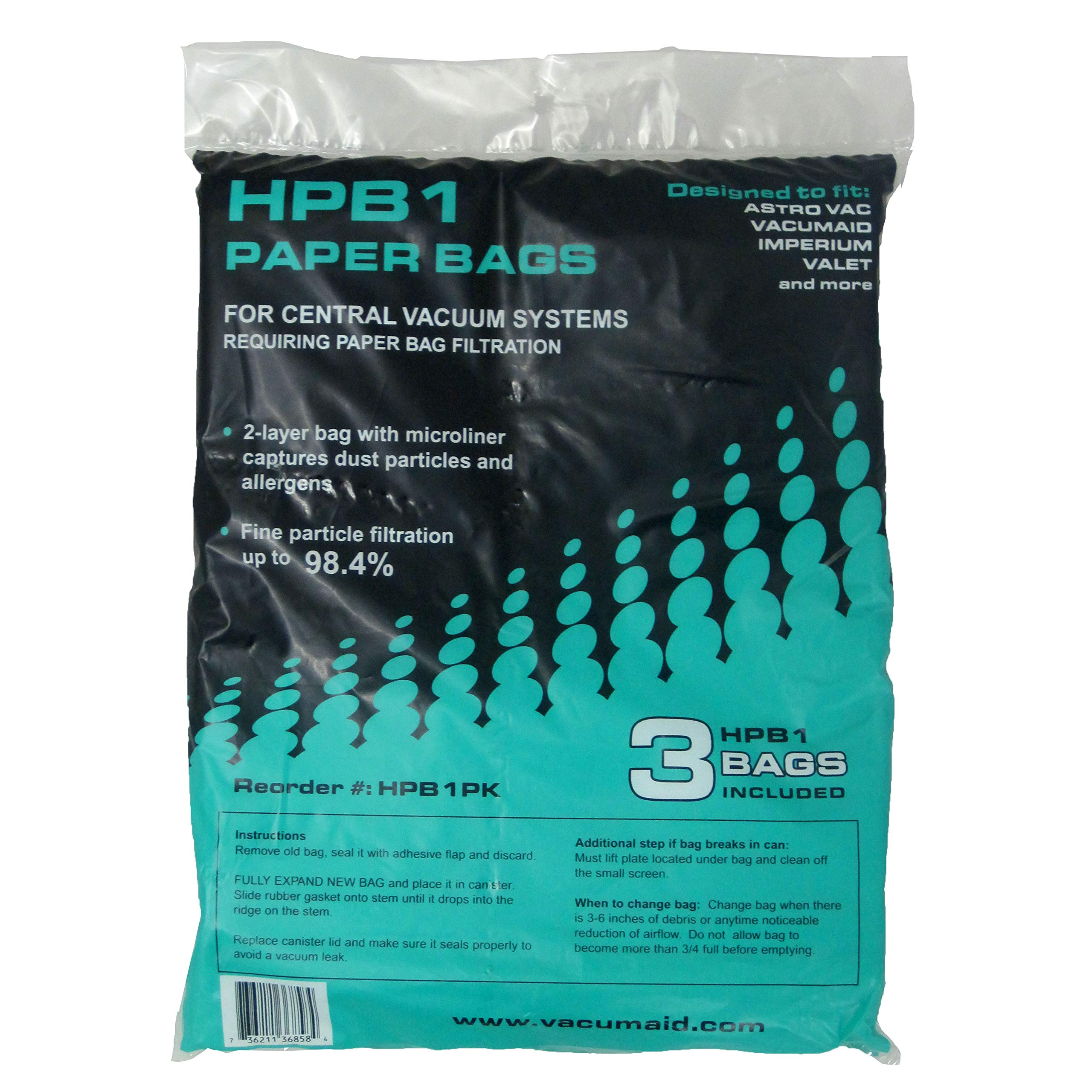 HPB1 Sealed Bag (Qty. 3 bags) for VacuMaid Garage Vac, VacuMaid Central Vacuum, AstroVac & Valet Central Vacuum