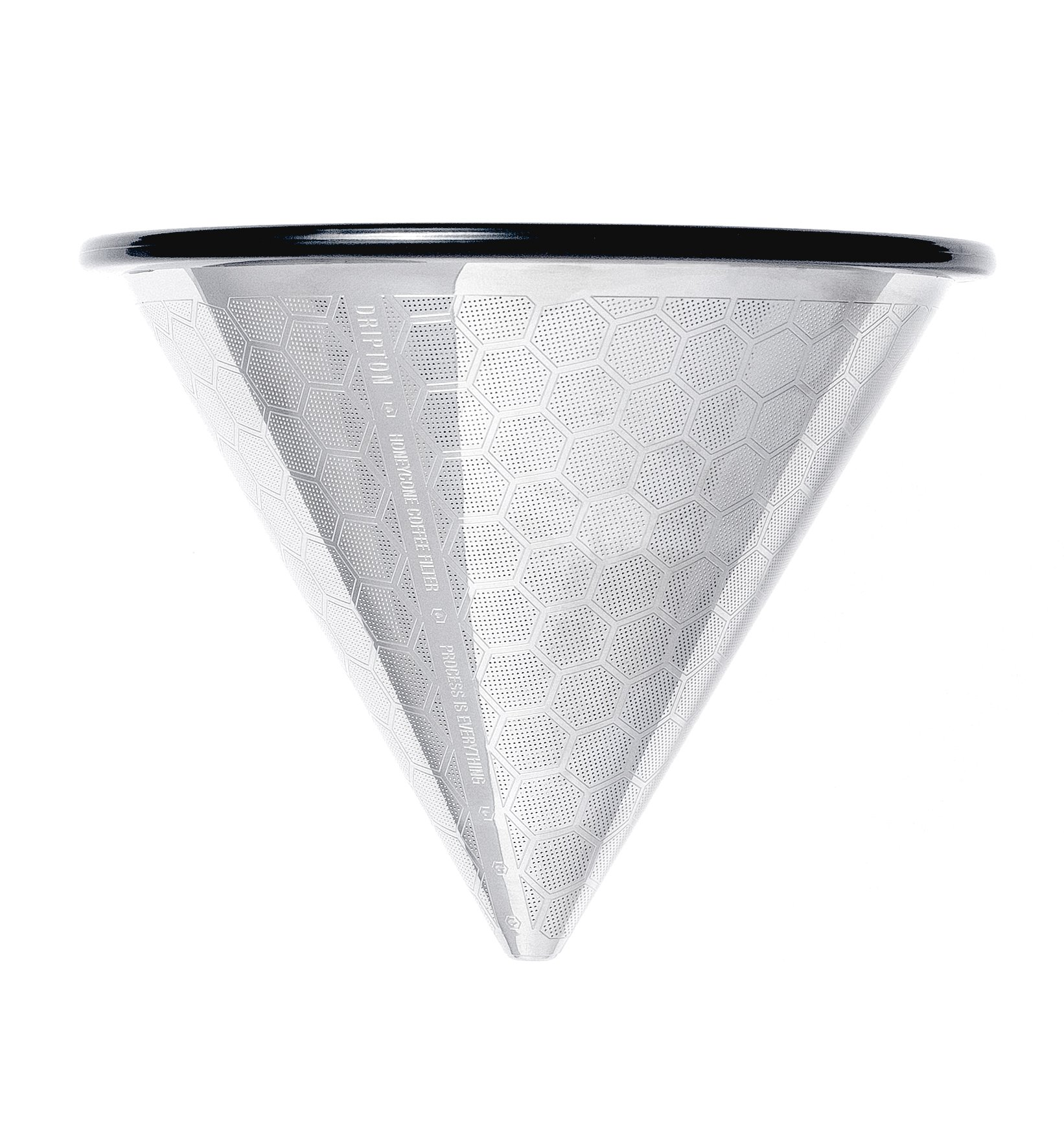 Pour Over Coffee Filter - 3rd Generation - Brew the Best Out of Your Coffee - Stainless Steel Reusable Cone Dripper. Made for Chemex Hario V60 and other Coffeemakers. HoneyCone by Dripton