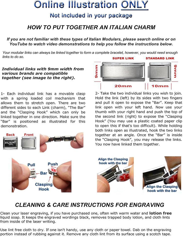 9mm Italian Modular Classic Size Charm Letter T *UK SELLER*