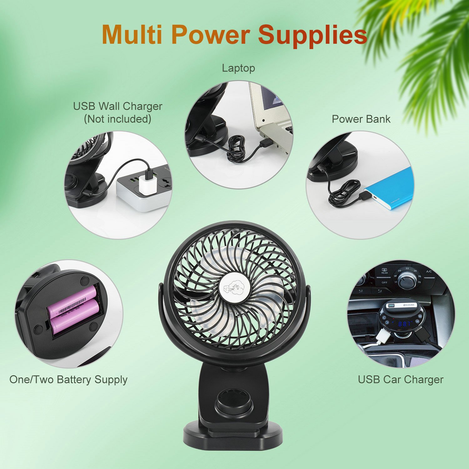 COMLIFE Portable Fan F150, USB Desk Fan with Rechargeable 4400 mAh Battery,Mini Clip on Fan with Powerbank &Aroma Diffuser Function,Stepless Speeds, Ideal for Stroller, Camping, Office, Outdoor,Travel by COMLIFE (Image #4)
