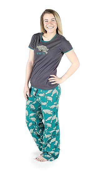 42e4e73ee844 No Wake Zone Manatee Grey Women s Fitted Pajama Set by LazyOne Manatee  Gifts Soft Animal Pajama