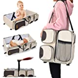 Fitnate 3 in 1 Diaper Bag, Multi-function Baby Diaper Bag with Multi-pockets Portable Infant Travel Bassinet Multi…