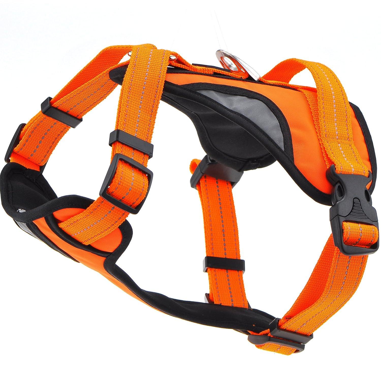 orange X-Large Neck 30\ orange X-Large Neck 30\ Mile High Life Adjustable No Pull Large Dog Vest Halter Harness with 3M Reflective Strap for Outdoor Night Walking (orange, X-Large)
