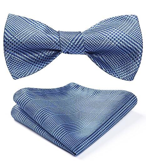 1f54cc980eca HISDERN Men's Check Dot Jacquard Woven Self Tie Bow Tie Pocket Square Set  Wedding Party Blue