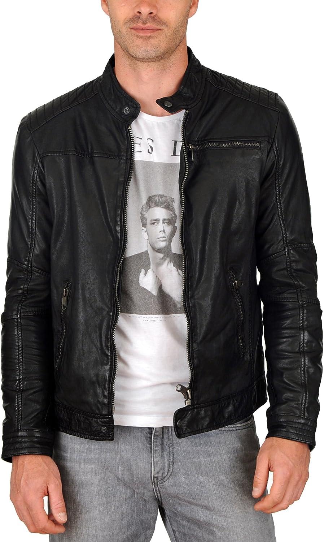 Mens Genuine Lambskin Leather Jacket Slim fit Motorcycle Jacket P107
