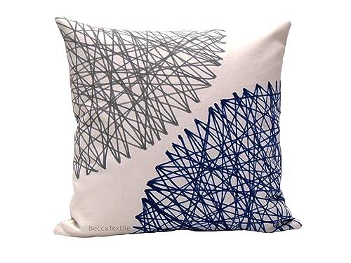 Funda de cojín de lino algodón azul y gris, cojín con dibujo ...