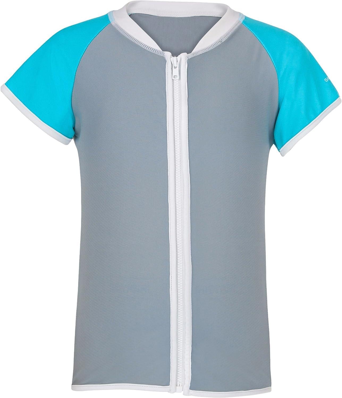 Snapper Rock Girl UPF 50 UV Protection Short Sleeve Zip Swim Shirt For Kids /& Teens